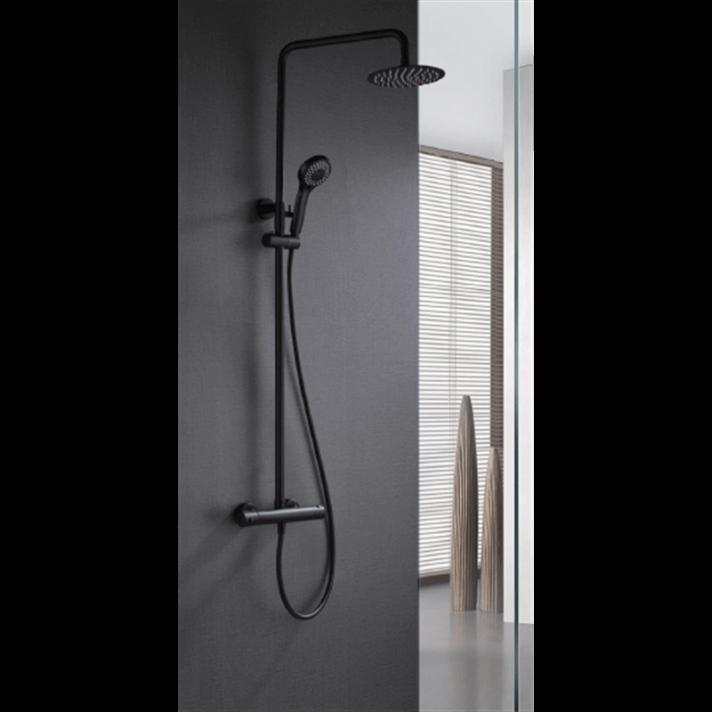 Columna de ducha termostática negro mate Imex Londres