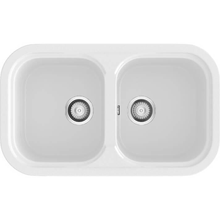 Fregadero de 2 cubas Blanco 81 x 48,5cm Esmeralda Basic Poalgi