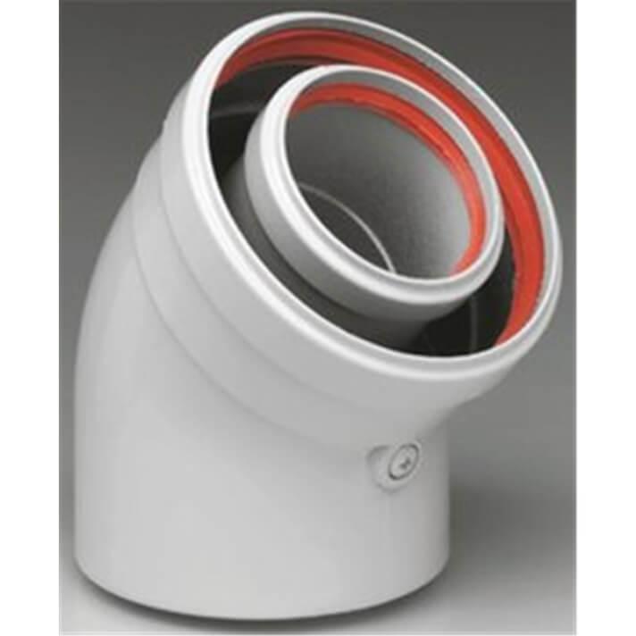 Accesorios calderas de condensación curva coaxial 45º 80/125 FERROLI