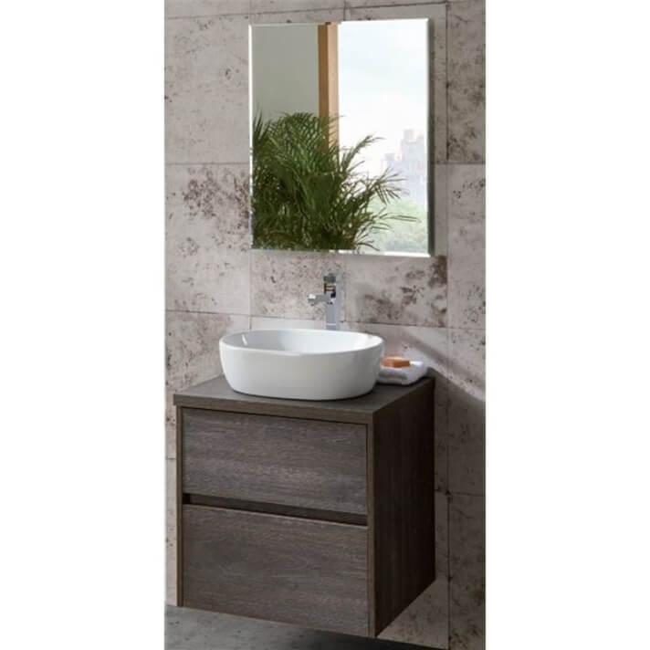 Pack mueble con 2 cajones lavabo sobreencimera y espejo DECO LINE Sanchis
