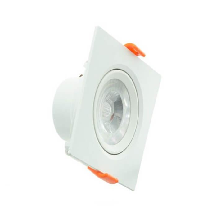 Foco LED cuadrado direccionable 5W blanco PC
