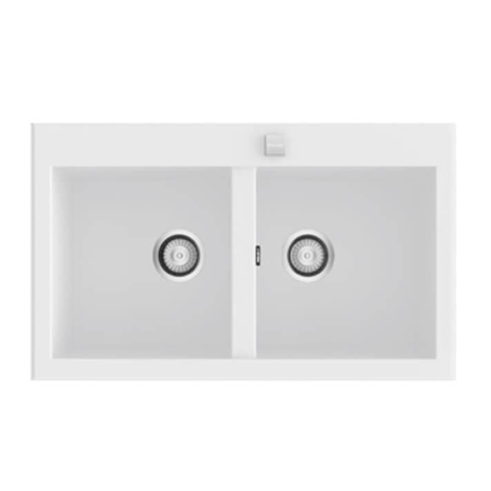 Fregadero de 2 cubas Blanco 86 x 52cm Shira Poalgi