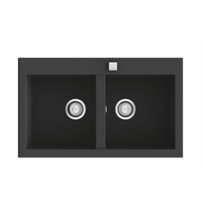 Fregadero de 2 cubas negro 86 x 52cm Shira Poalgi