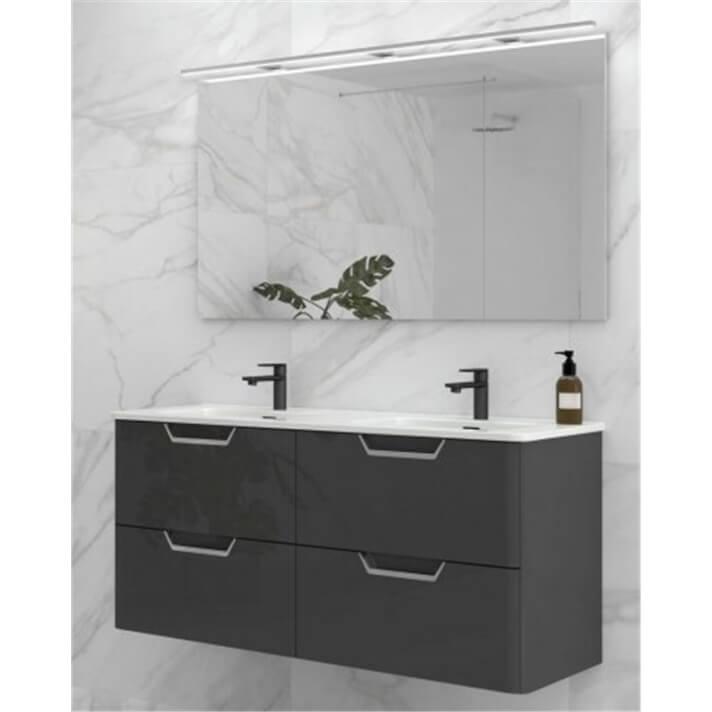 Mueble de baño con lavabo cerámico dos senos 120cm Life Royo