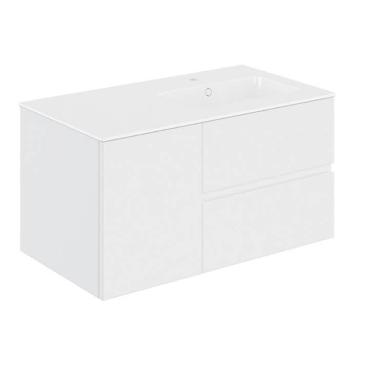 Mueble 2 cajones + 1 puerta con lavabo derecha 100,5cm Mood COSMIC