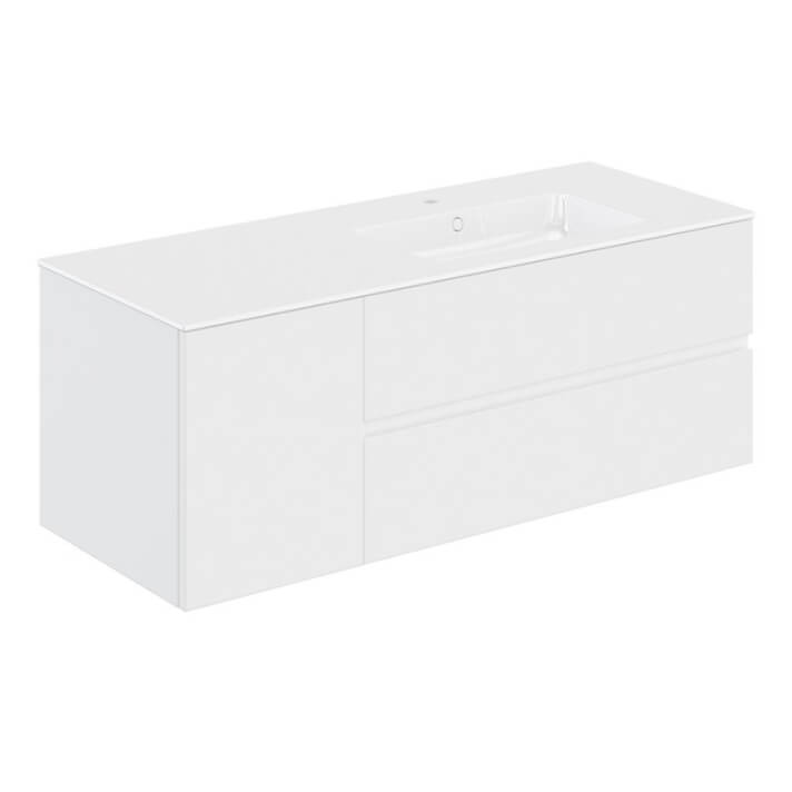 Mueble 2 cajones + 1 puerta con lavabo derecha 140,5cm Mood COSMIC