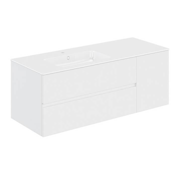 Mueble 2 cajones + 1 puerta con lavabo izquierda 140,5cm Mood COSMIC