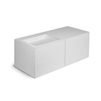Mueble 4 cajones con lavabo izquierda 160cm acabado brillo Block COSMIC