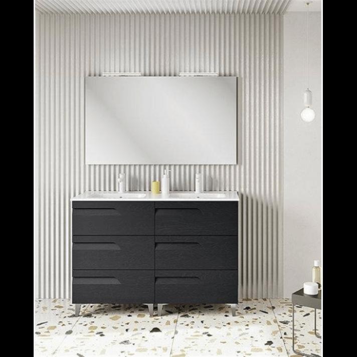 Mueble de baño 6 cajones con lavabo cerámico 2 senos 120cm Vitale Royo
