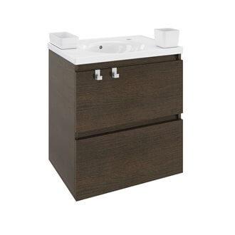 Mobile con lavabo in resina 60 cm Rovere cioccolato B-Box BATH+