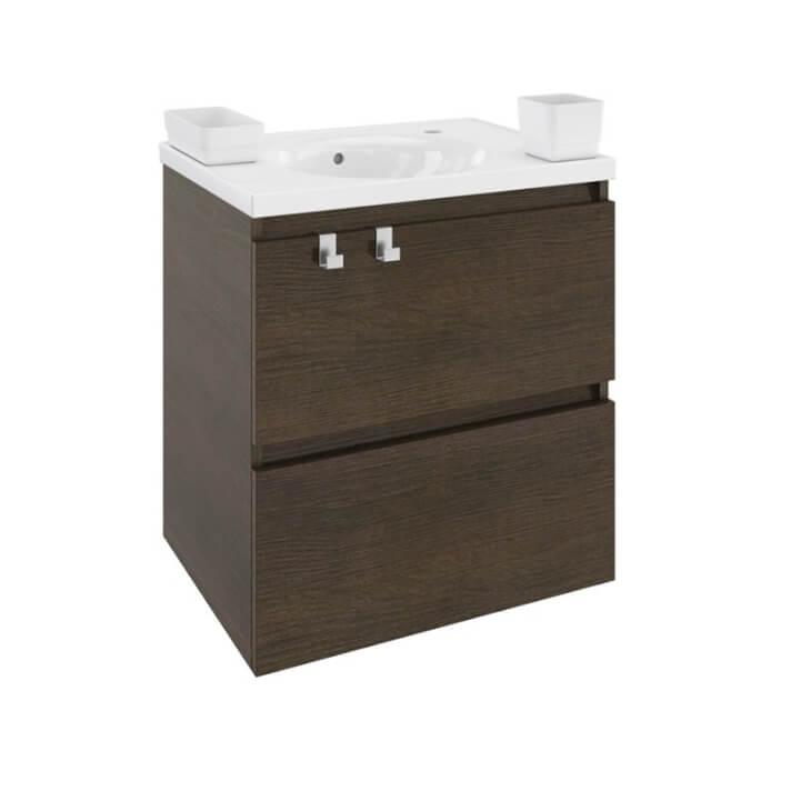 Mueble con lavabo resina 60cm Roble chocolate B-Box BATH+