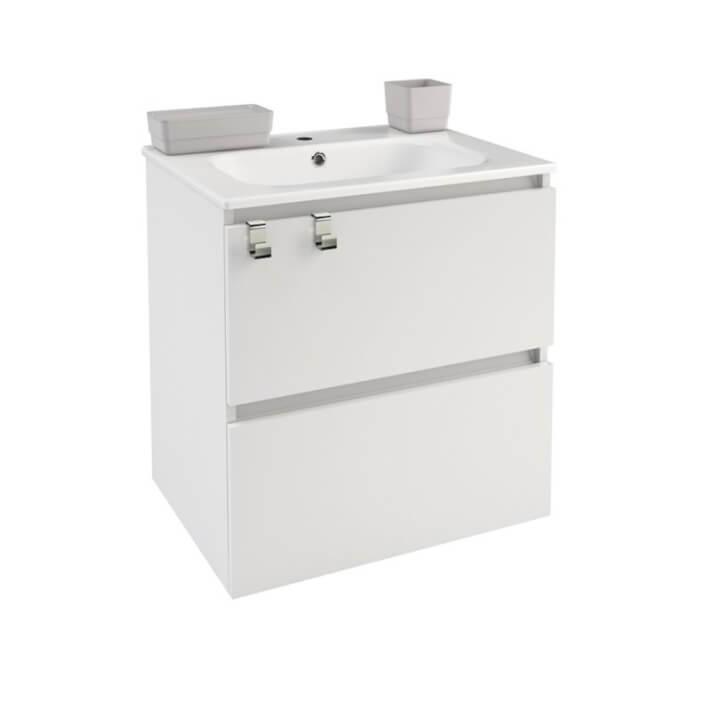Meuble rectangulaire blanc avec plan vasque en porcelaine 60 cm B-Box Bath+