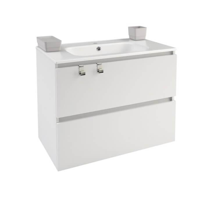 Meuble rectangulaire blanc avec plan vasque en porcelaine 80 cm B-Box Bath+