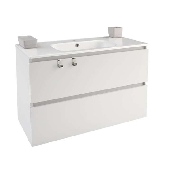 Meuble rectangulaire blanc avec plan vasque en porcelaine 100 cm B-Box Bath+