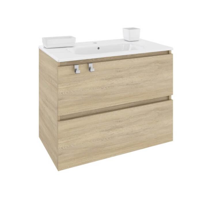 Móvel com lavatório de porcelana retangular 80 cm Carvalho nature B-Box BATH+