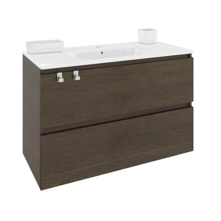 Meuble rectangulaire chêne chocolat avec plan vasque en porcelaine 100 cm B-Box Bath+