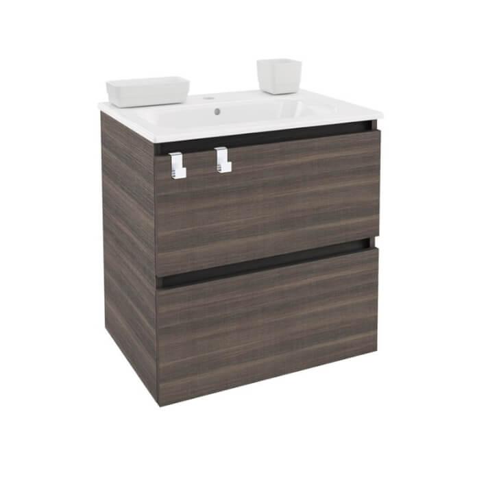 Meuble rectangulaire frêne avec plan vasque en porcelaine 60 cm B-Box Bath+
