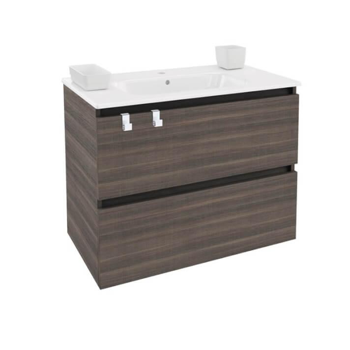 Mueble con lavabo porcelana rectangular 80cm Fresno B-Box BATH+