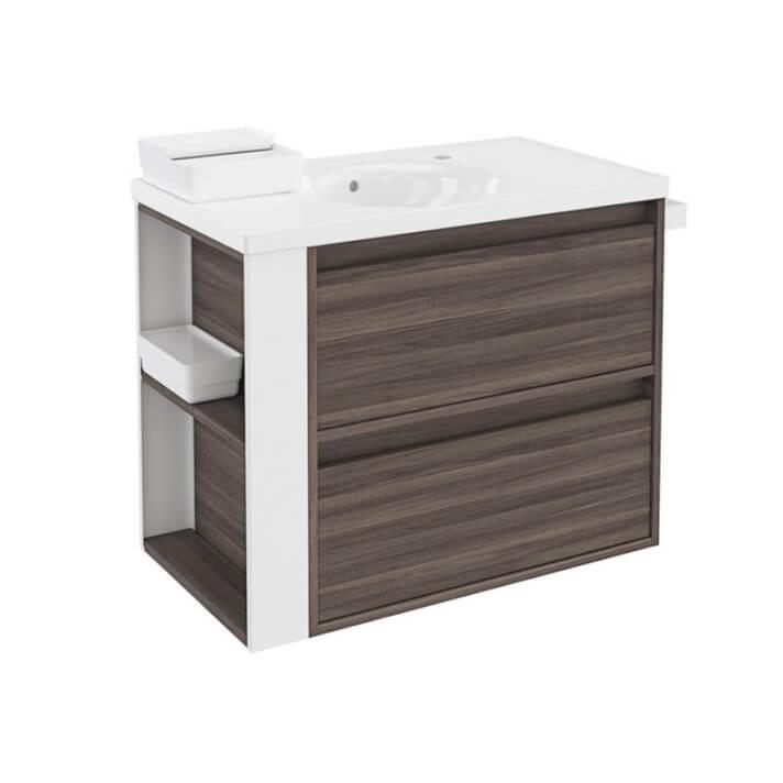 Meuble frêne/blanc avec plan vasque en porcelaine 80 cm avec 2 tiroirs B-Box Bath+