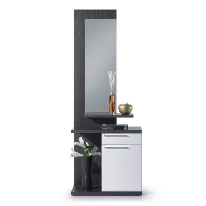 Mueble de recibidor blanco y ceniza con espejo Iberodepot