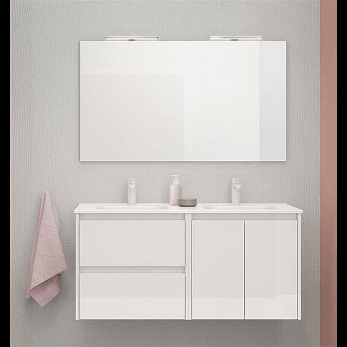 Mueble de baño 2 cajones 2 puertas con lavabo cerámico dos senos 120cm Sansa Royo