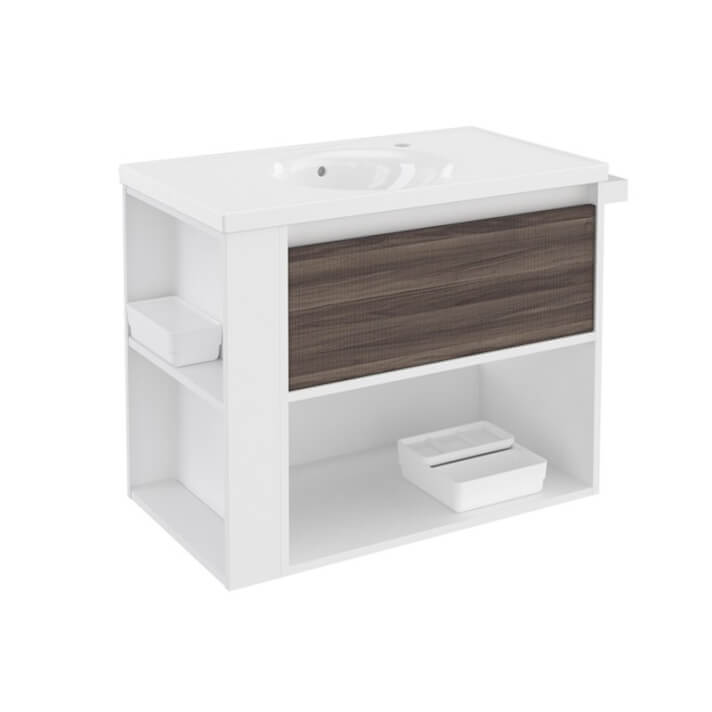 Mueble con lavabo porcelana 80cm Blanco-Fresno/Blanco B-Smart BATH+