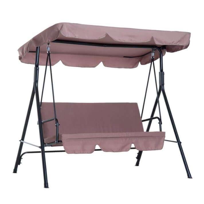 Balancín marrón metal con parasol Outsunny