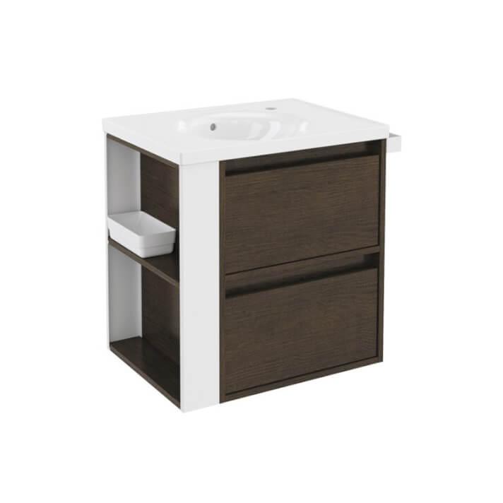 Meuble chêne chocolat/blanc avec plan vasque en porcelaine 60 cm avec 2 tiroirs B-Smart Bath+