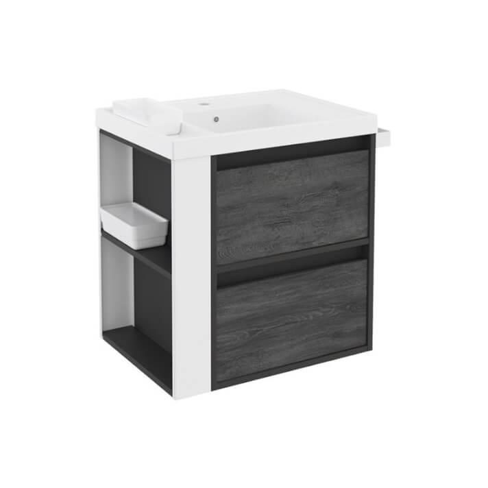 Móvel com lavatório de resina 60 cm Antracite-Frontal xisto nature/Branco 2 gavetas B-Smart BATH+