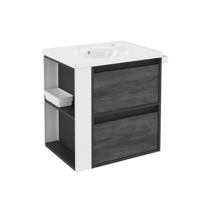 Meuble Anthracite/Blanc avec plan vasque en porcelaine 60 cm avec 2 tiroirs B-Smart Bath+