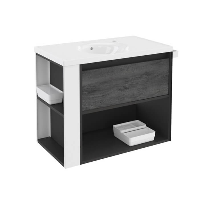 Mueble con lavabo porcelana 80cm Antracita-Frontal pizarra nature/Blanco B-Smart BATH+
