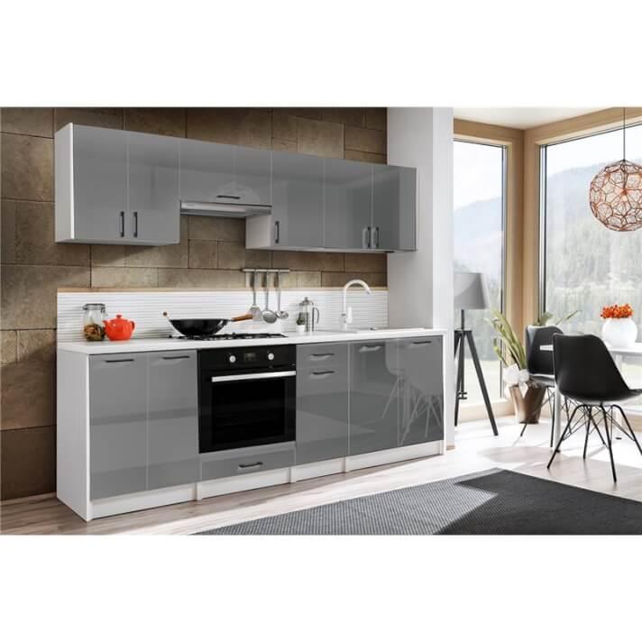 Cocina 240cm gris brillo Eliza Tarraco