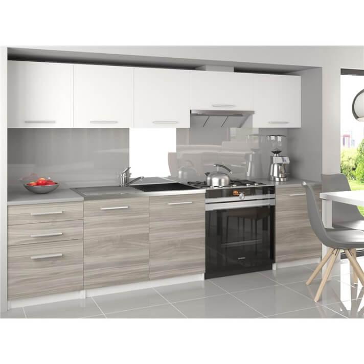 Cocina 240cm blanco y gris Uniqa Tarraco