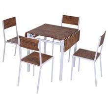 Conjunto mesa de cocina + 4 sillas madera HomCom