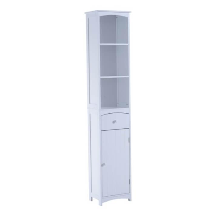 Columna de baño con estantes blanca HomCom