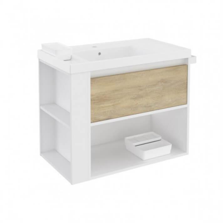 Mueble con lavabo resina 80cm Blanco-Roble nature/Blanco B-Smart BATH+