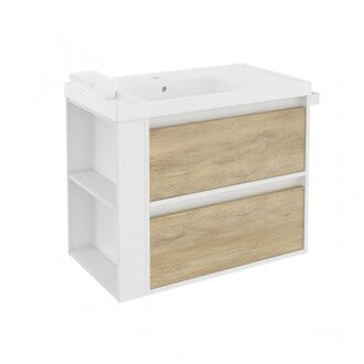 Mueble con lavabo resina 80cm Blanco-Roble nature/Blanco 2 cajones B-Smart BATH+