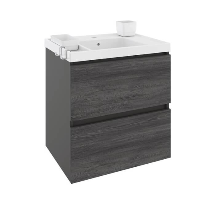 Mueble con lavabo resina 60cm Antracita B-Box BATH+