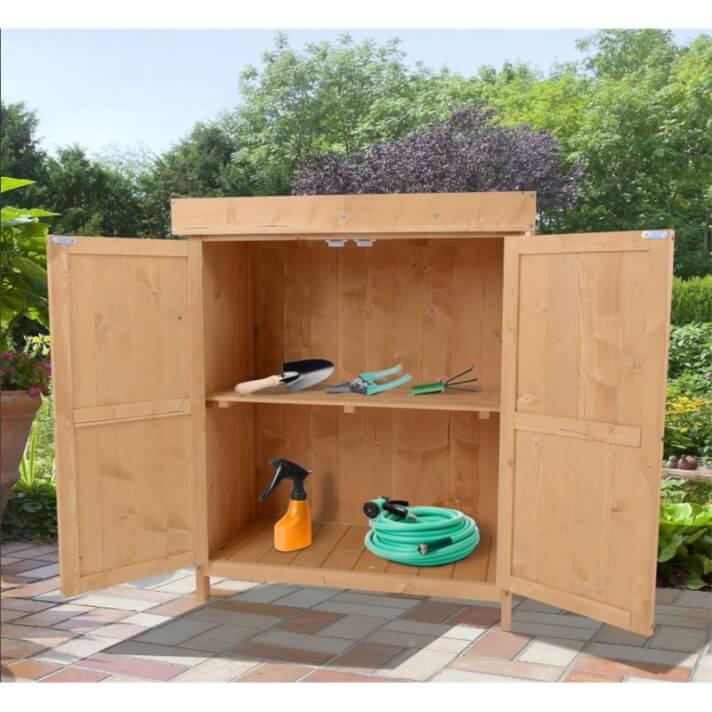 Caseta exterior de madera con puertas Outsunny