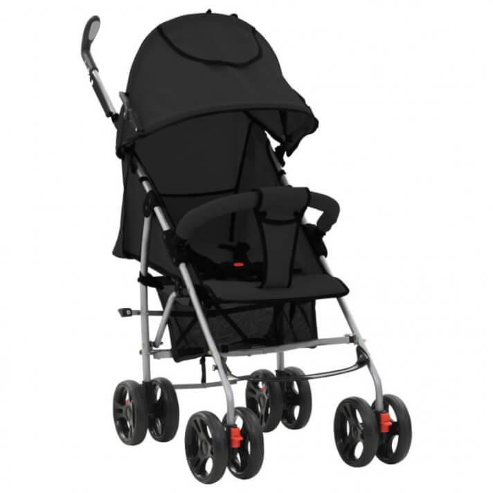Cochecito sillita paseo de bebé 2 en 1 negro acero Vida XL