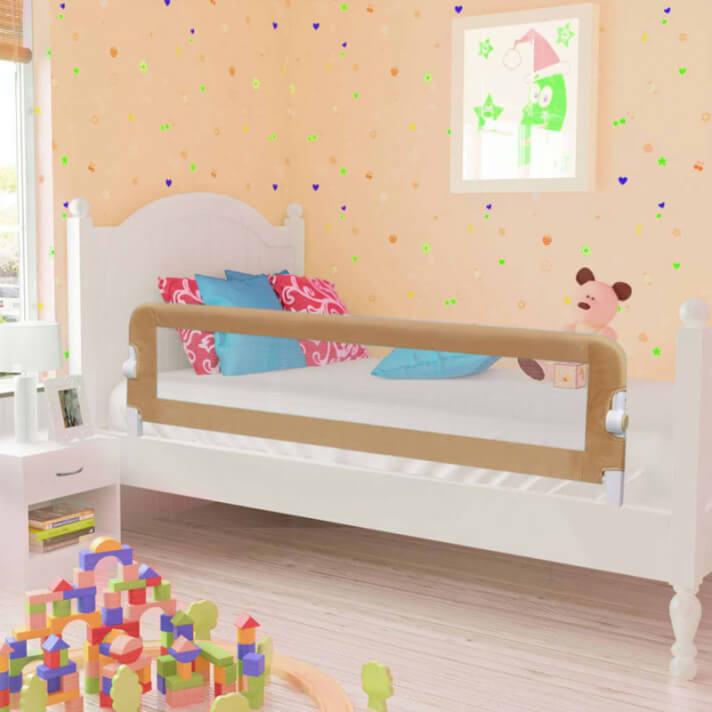 Barandilla de seguridad cama de niño poliéster taupe 150x42 cm Vida XL