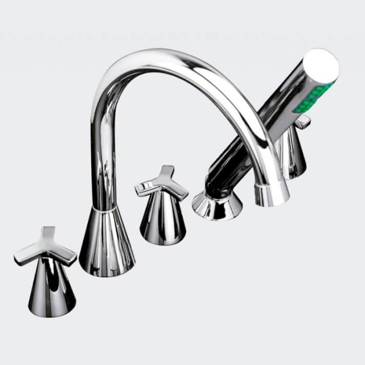 Rubinetto su piano per vasca da bagno con accessori MARIN