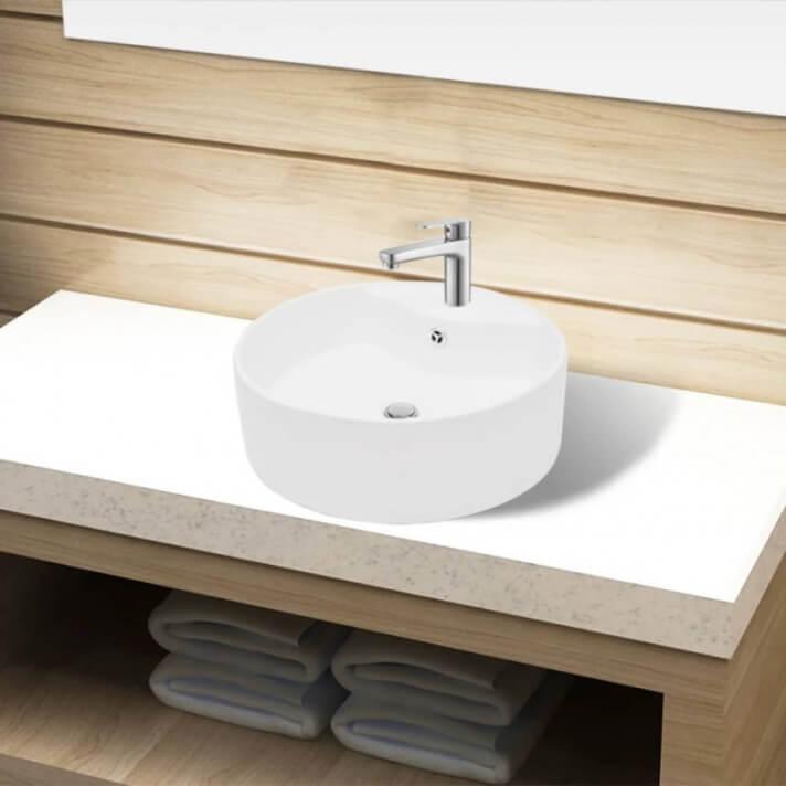 Lavabo de cerámica con agujero para grifo blanco 46cm Vida XL