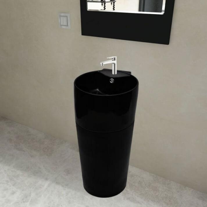 Lavabo de cerámica de pie color negro Vida XL
