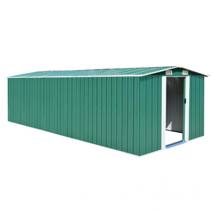 vidaXL Caseta de jardín de metal verde 257x597x178 cm