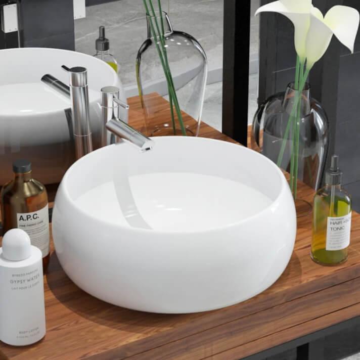 Lavabo sobre encimera de cerámica con paredes curvas blanco 40cm Vida XL