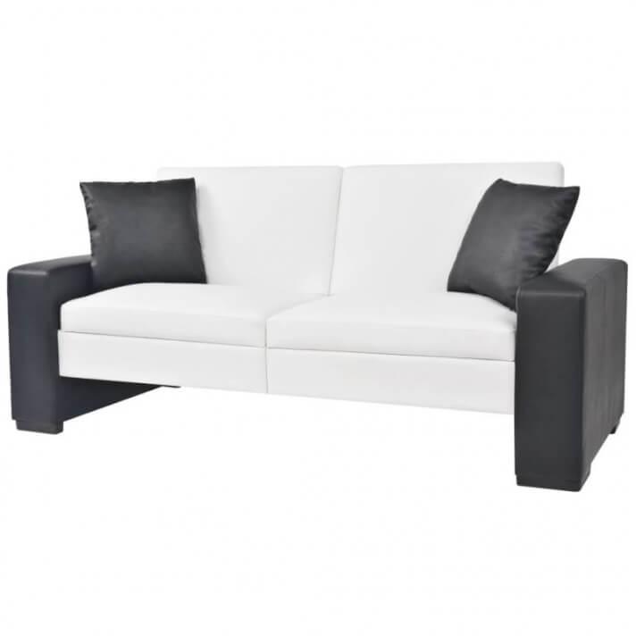 Sofá cama con reposabrazos de PVC ajustable blanco Vida XL
