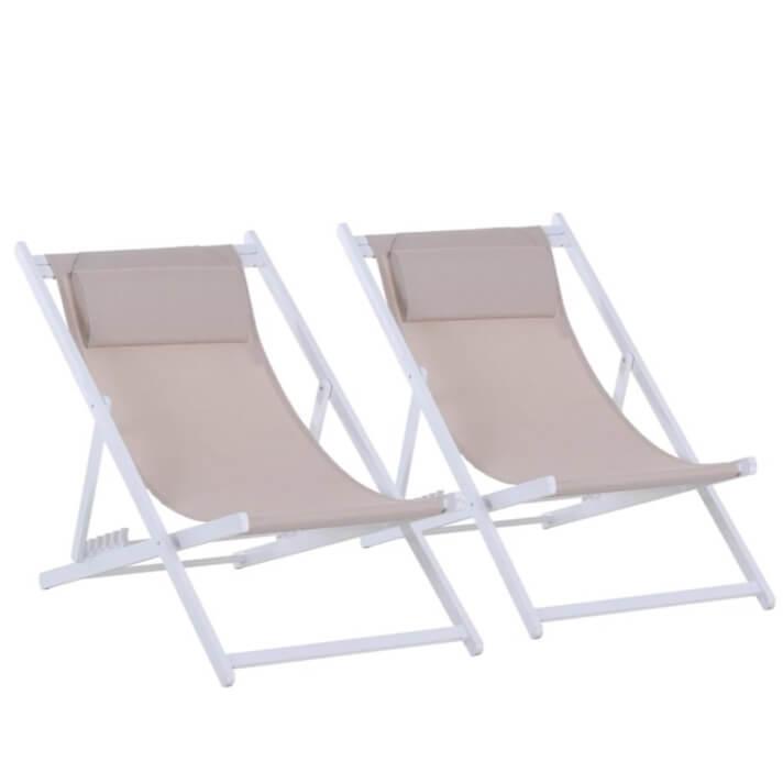 Conjunto de 2 cadeiras espreguiçadeiras dobráveis branca - Outsunny