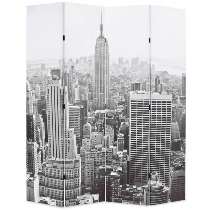 Biombo divisor plegable 160x170cm Nueva York blanco y negro Vida XL