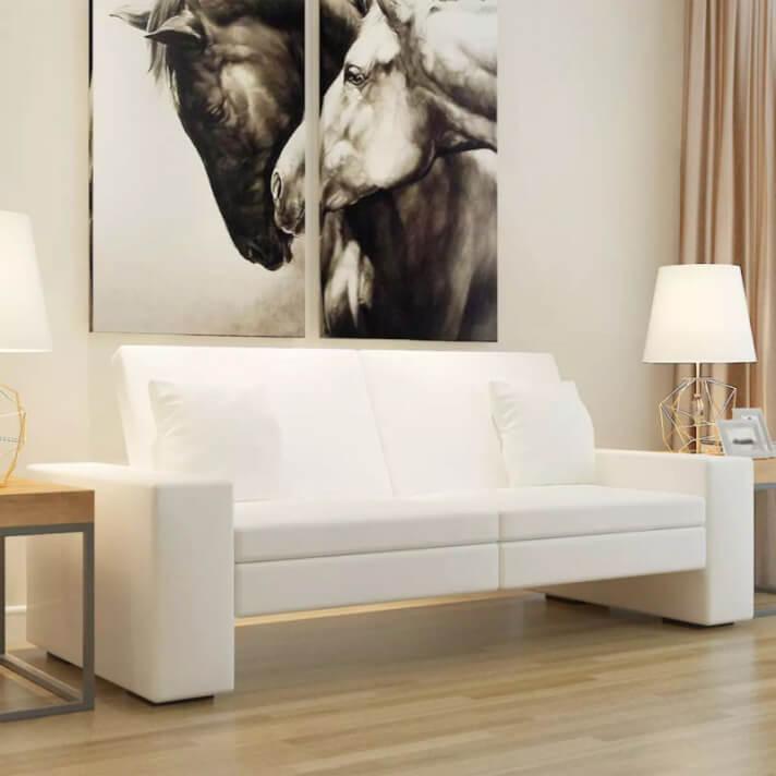 Sofá cama de cuero artificial blanco Vida XL